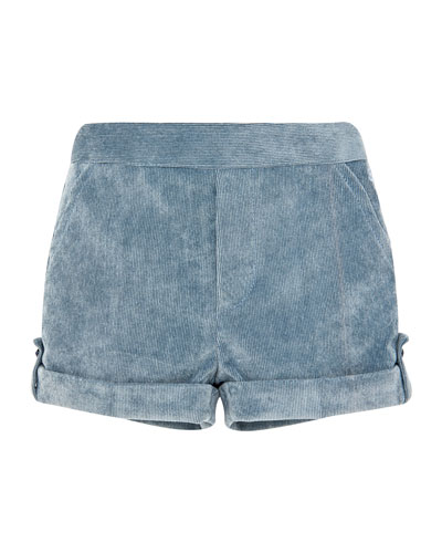 Corduroy Rolled-Cuffs Shorts, Size 6M-3