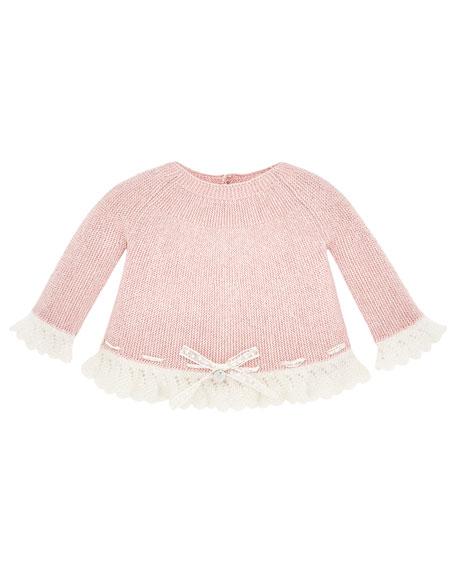 Pili Carrera Lace-Trim Knit Sweater w/ Matching Footed
