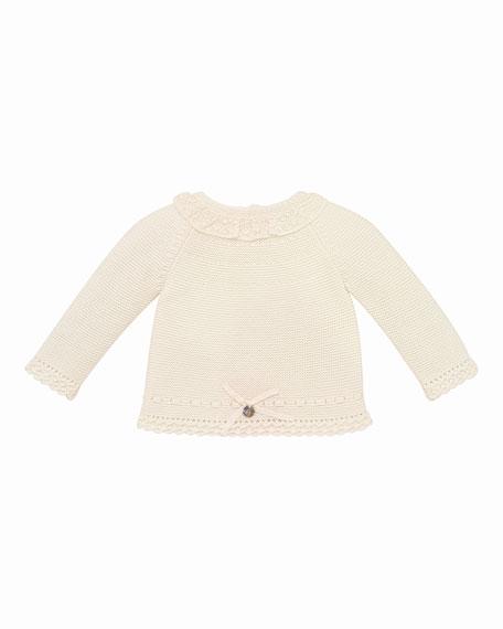 Pili Carrera Ruffle-Collar Knit Sweater w/ Matching Footed