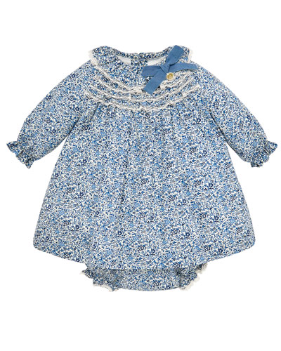 Floral Long-Sleeve Lace-Trim Dress w/ Matching Bloomers  Size 6M-3