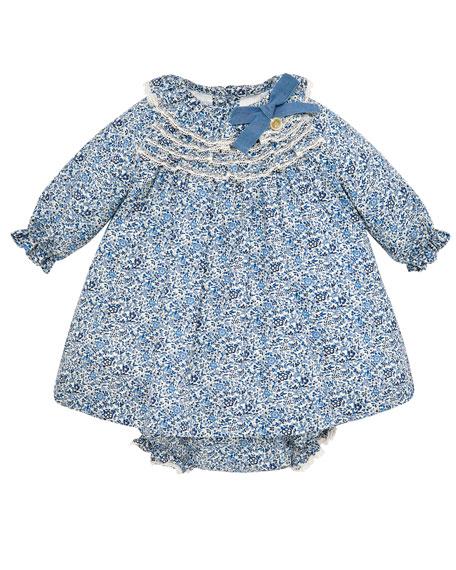 Pili Carrera Floral Long-Sleeve Lace-Trim Dress w/ Matching