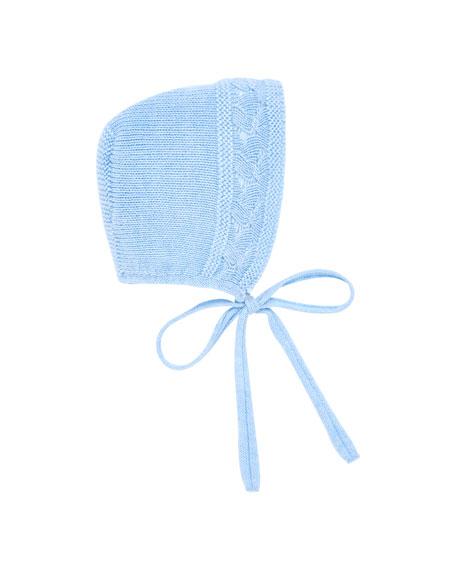 PILI CARRERA Cotton-Merino Wool Knit Baby Bonnet in Blue
