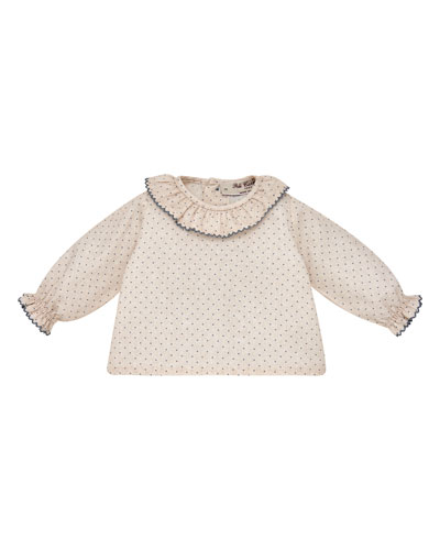 Polka-Dot Long-Sleeve Ruffle Blouse w/ Bow Bloomers, Size 1-12 Months