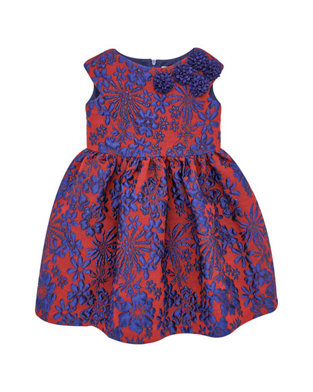 Pili Carrera Floral Jacquard Cap-Sleeve Dress w/ Rosettes,
