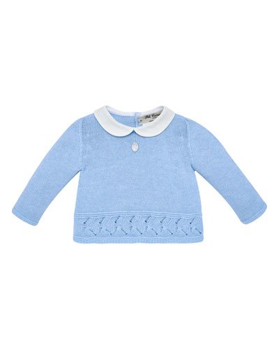 Collar Knit Sweater w/ Matching Footed Leggings  Size 1-6 Months