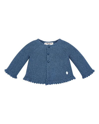 Scalloped-Trim Knit Cardigan Sweater, Size 6M-2