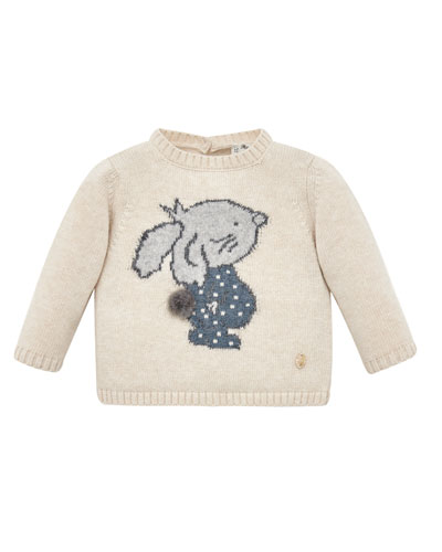 Bunny Intarsia Stand-Collar Sweater, Size 6M-3