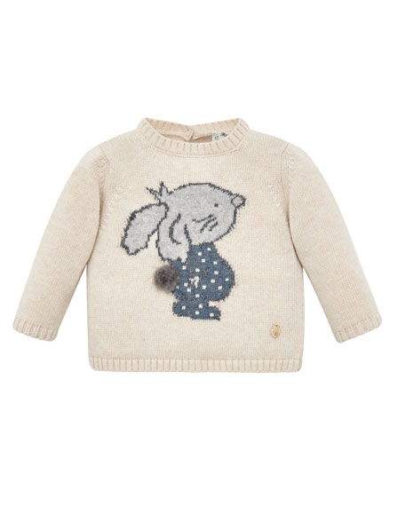 Pili Carrera Bunny Intarsia Stand-Collar Sweater, Size 6M-3