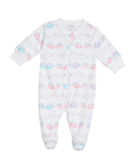 Kissy Kissy Eloquent Elephants Printed Pima Zip-Front Footie