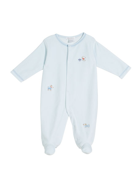 Kissy Kissy Cozy Pups Velour Embroidered Footie Playsuit,