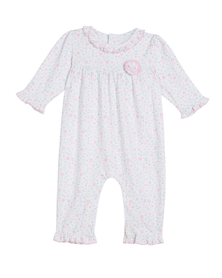 Kissy Kissy Eloquent Elephants Pima Ruffle-Trim Coverall, Size