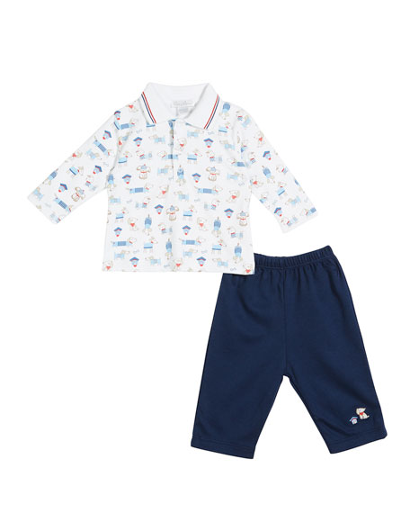 Kissy Kissy Cozy Pups Two-Piece Pant Set, Size