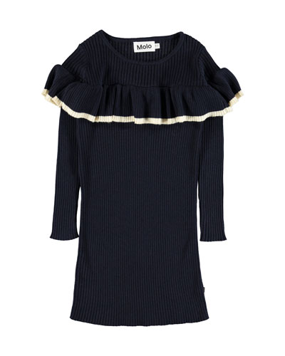 Celise Ruffle-Trim Long-Sleeve Rib Knit Dress, Size 3T-14