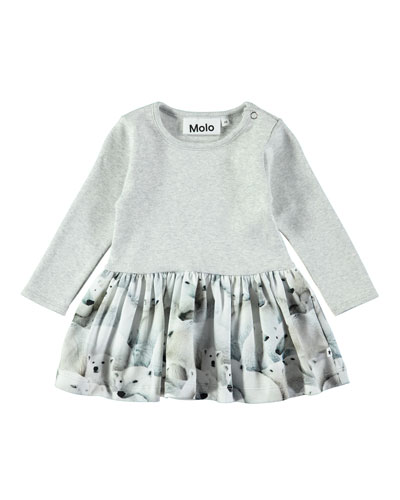 Carel Polar Bear-Print Long-Sleeve Dress, Size 6-24 Months