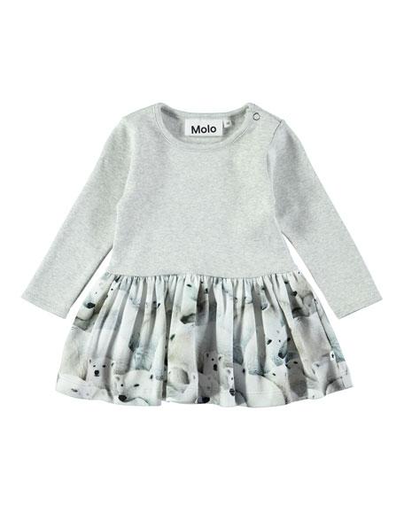Molo Carel Polar Bear-Print Long-Sleeve Dress, Size 6-24