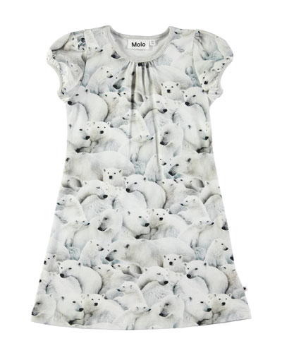 Camellia Short-Sleeve Polar Bear Dress, Size 2T-8