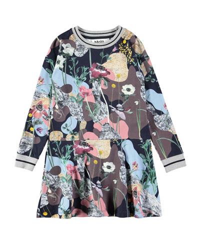 Conny Long-Sleeve Floral-Print Dress, Size 2T-12