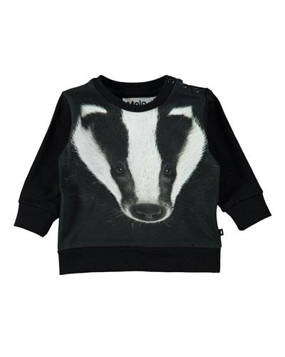 Eiler Badger-Print Long-Sleeve Tee, Size 6-24 Months