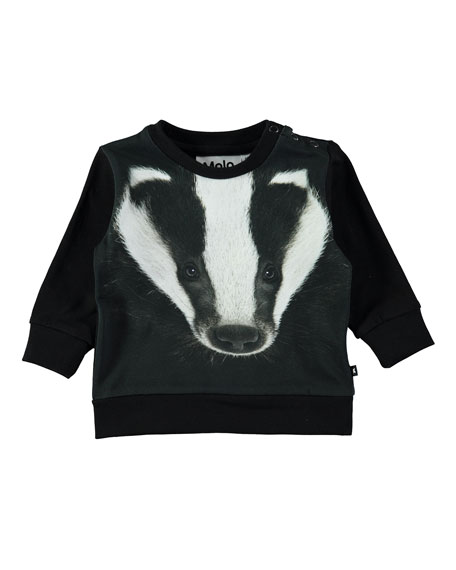 Molo Eiler Badger-Print Long-Sleeve Tee, Size 6-24 Months