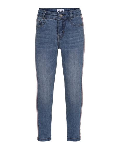 Molo Anastasia Straight-Leg Denim Jeans w/ Contrast Sides,