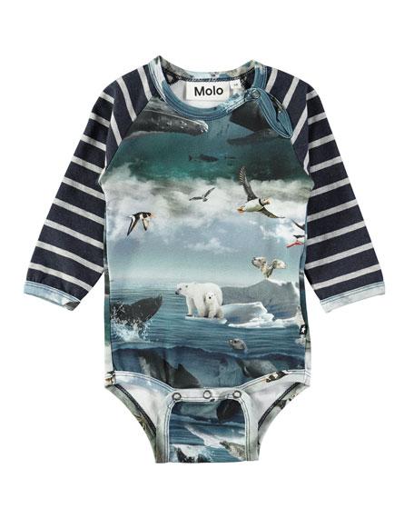 Molo Floyd Raglan Arctic Landscape Bodysuit, Size 3-12