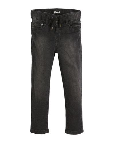 Augustin Black-Wash Denim Jeans, Size 4-10