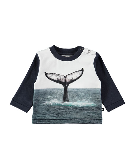 Molo Enovan Whale Tail Long-Sleeve Tee, Size 6-24