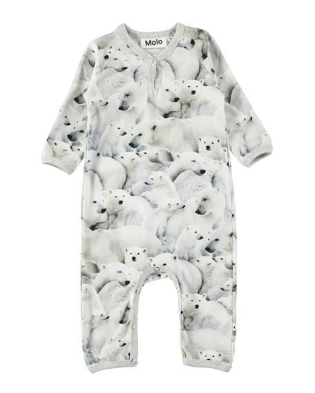 Fiona Polar Bear-Print Coverall, Size 3-12 Months
