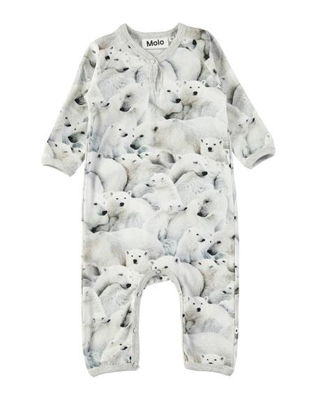 Fiona Polar Bear-Print Coverall, Size 3-12 Months