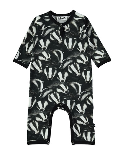 Fleming Badger-Print Coverall, Size 3-12 Months