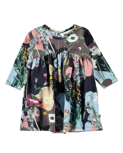 Carlys Floral-Print Long-Sleeve Dress, Size 6-24 Months
