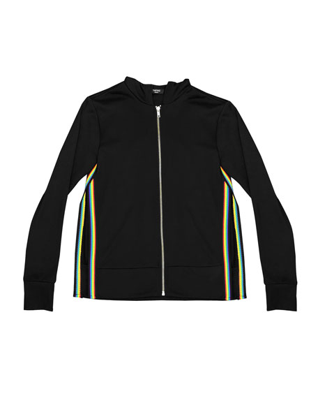Zip-Up Hooded Jacket w/ Rainbow Tape Trim, Size 7-16
