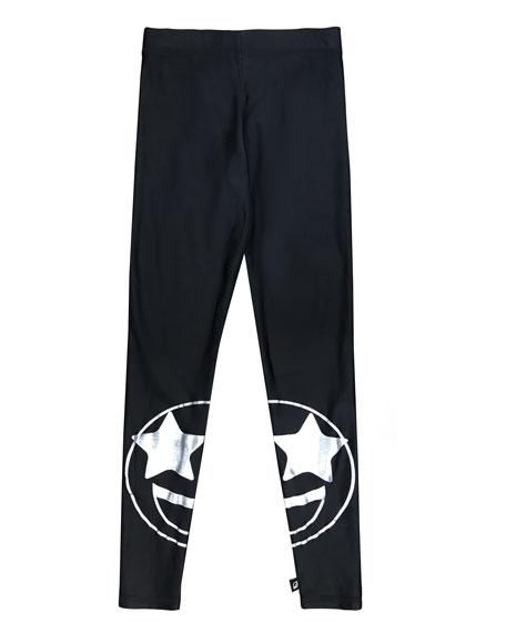 Terez Split Star Eye Foil-Print Leggings, Size 7-16