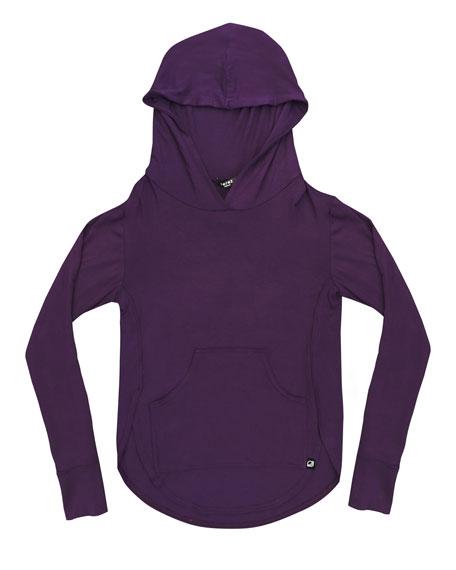 Cutaway-Sides Hoodie Top w/ Thumbholes, Size 7-16