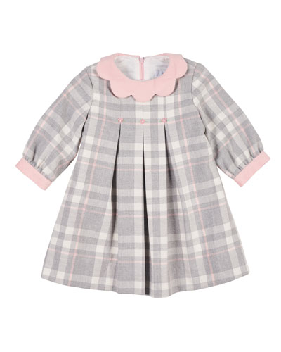 Plaid Long-Sleeve Dress w/ Embroidered Flowers, Size 2-4