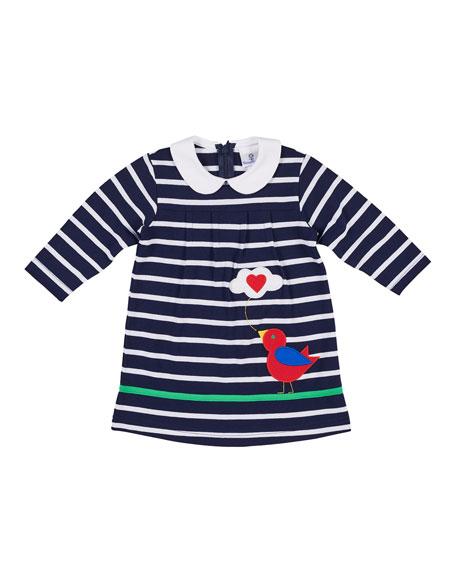 Florence Eiseman Bird Tweeting Striped Long-Sleeve Dress, Size