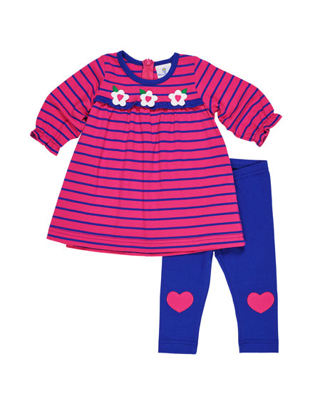 Florence Eiseman Striped Flower Dress w/ Heart-Knee Leggings,