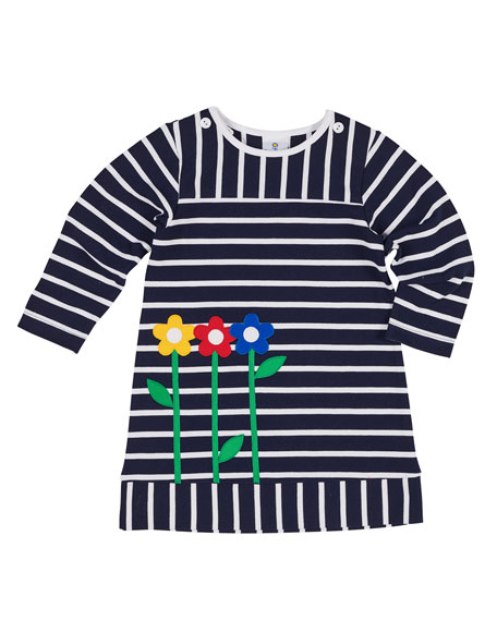 Florence Eiseman Striped Pique Knit Flower Dress, Size