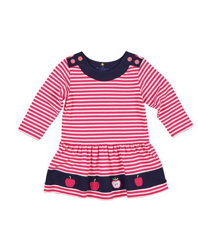 Striped Interlock Knit Apple Dress, Size 2-4