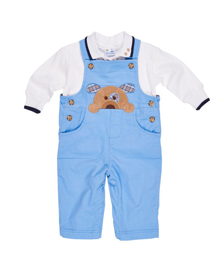 Florence Eiseman Corduroy Puppy Overalls w/ Long-Sleeve Polo