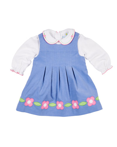 Corduroy Flower Dress w/ Peter Pan-Collar Top, Size 12-24 Months