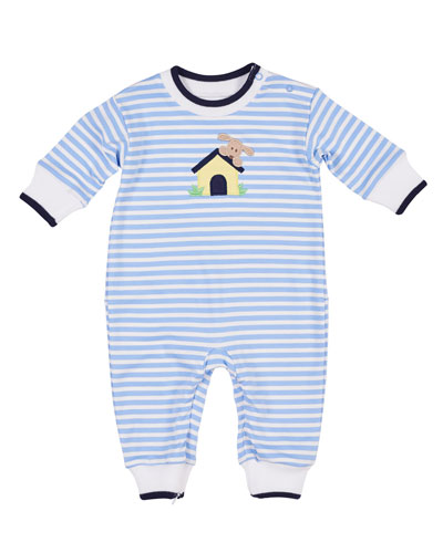 Striped Dog House Coverall, Size 3-12 Months