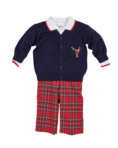 Tartan Plaid Pants, Knit Sweater & Long-Sleeve Polo, Size 2-4