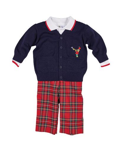 69af16694e3d Tartan Plaid Pants Knit Sweater   Long-Sleeve Polo Top Size 12-24 Months