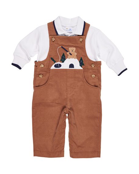 Florence Eiseman Corduroy Fishing Bear Overalls w/ Long-Sleeve