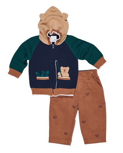 Hooded Bear Sweater w/ Corduroy Pants, Size 12-24 Months