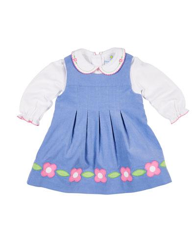Corduroy Flower Dress w/ Peter Pan-Collar Top, Size 2-4