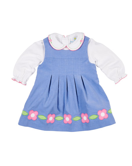 Florence Eiseman Corduroy Flower Dress w/ Peter Pan-Collar