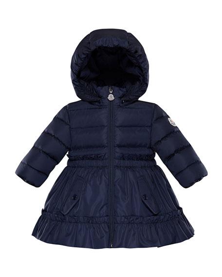 Vairea Ruffle-Trim Hooded Puffer Jacket, Size 12M-3