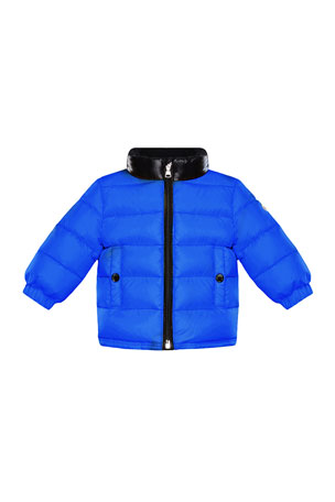 Moncler Clans Quilted Jacket w/ Contrast Stand Collar, Size 12M-3
